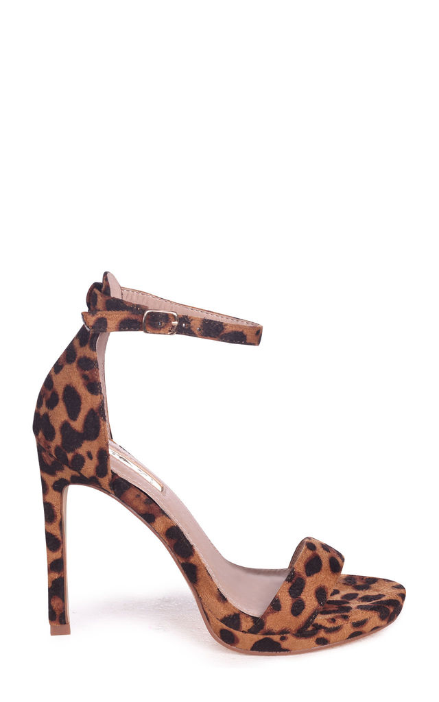 Gabriella Barely There Stiletto Heels in Brown Leopard Suede by Linzi