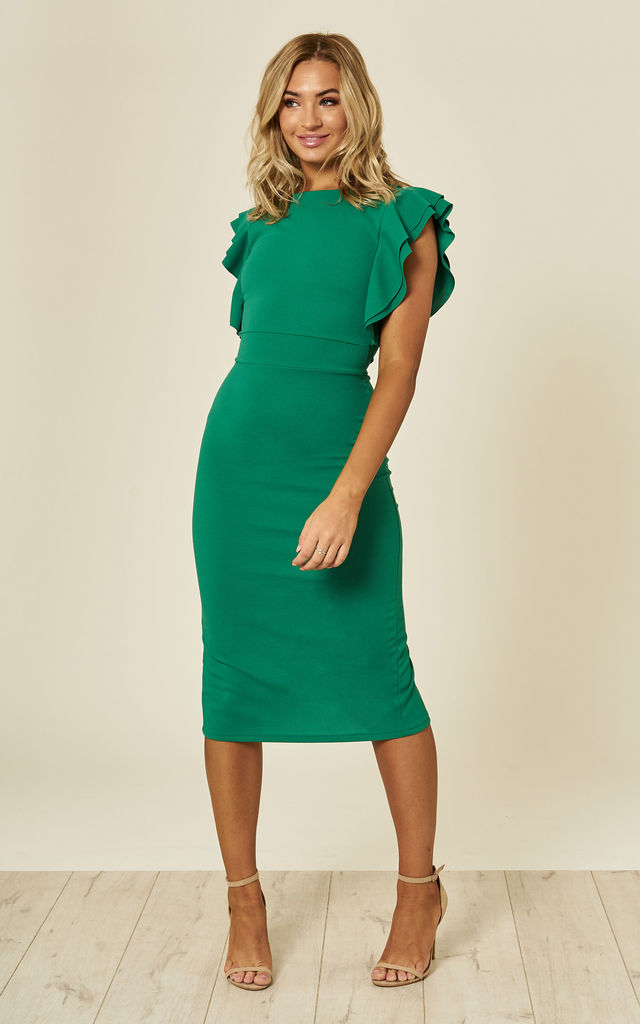 FLUTTER SLEEVE MIDI DRESS by WalG