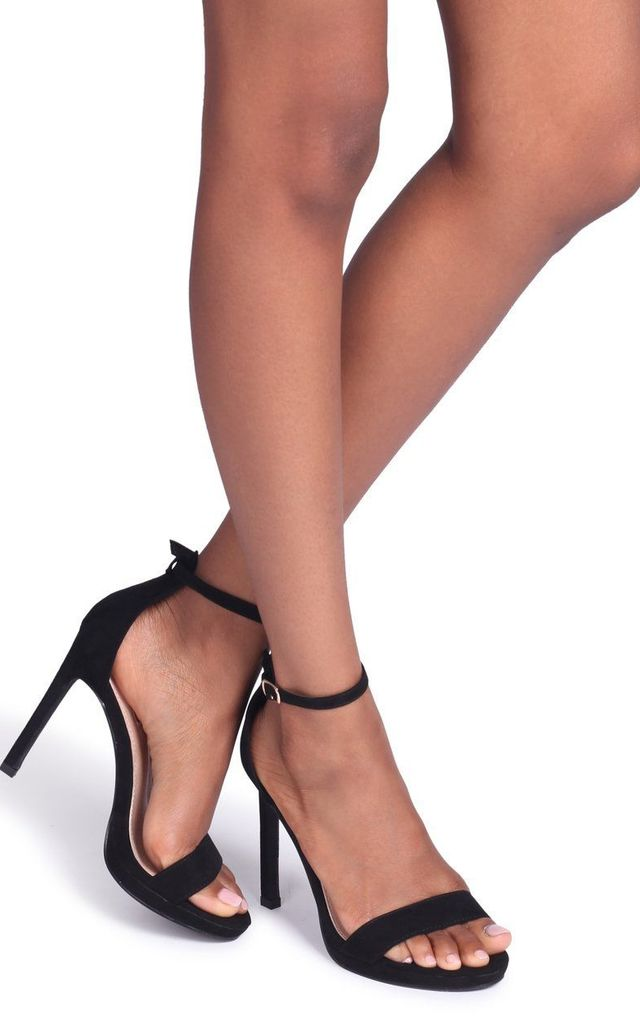 Gabriella Barely There Stiletto Heels in Black Suede by Linzi