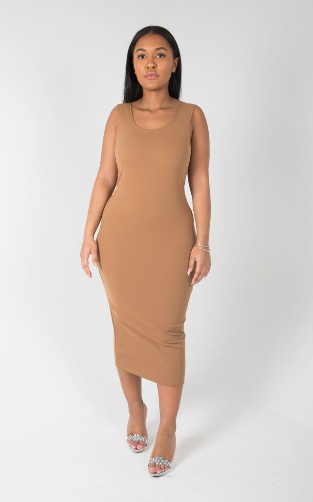 Dusk Scoop back Midi Dress in Brown by SORBELLO LONDON