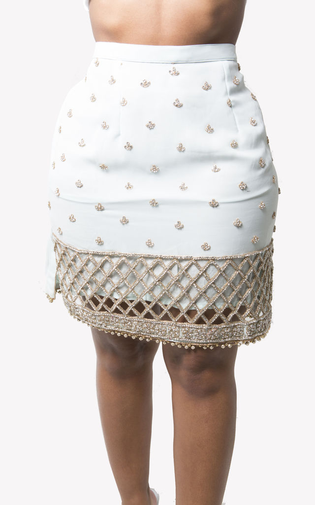 Glitz Embellished Mini Skirt in Light Blue by SORBELLO LONDON