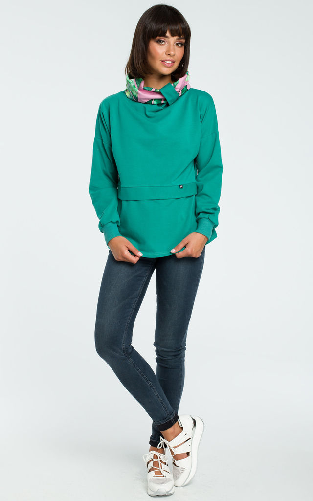 Green Sweatshirt With Patterned Collar by MOE