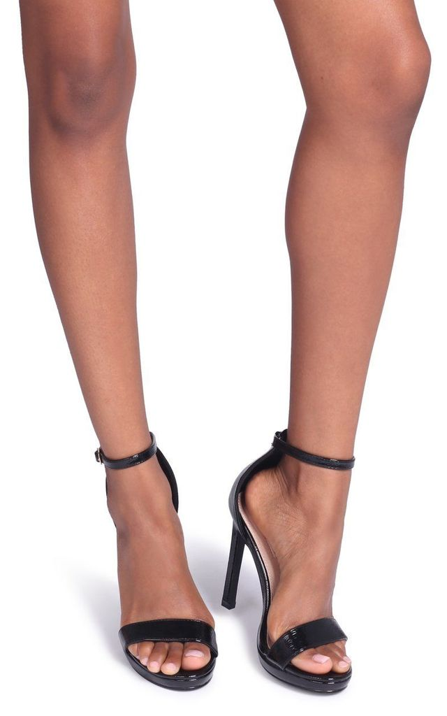 Gabriella Black Patent Barely There Stiletto Heel With Slight Platform by Linzi