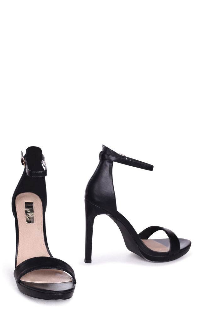 Gabriella Barely There Stiletto Heels in Black Faux Leather by Linzi