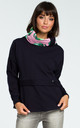 Navy Blue Sweatshirt With Patterned Collar by MOE