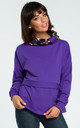 Purple Sweatshirt With Patterned Collar by MOE