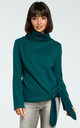 Green Turtleneck Tie Sweater by MOE