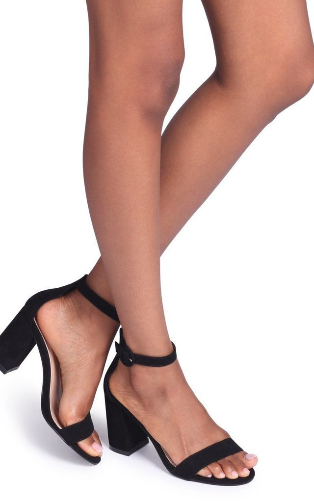 Sesame Black Suede Barely There Block Heeled Sandal by Linzi