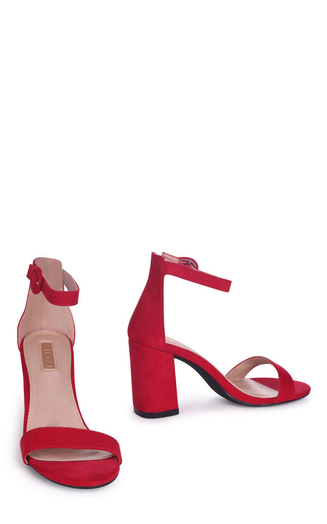 Sesame Red Suede Barely There Block Heeled Sandal by Linzi
