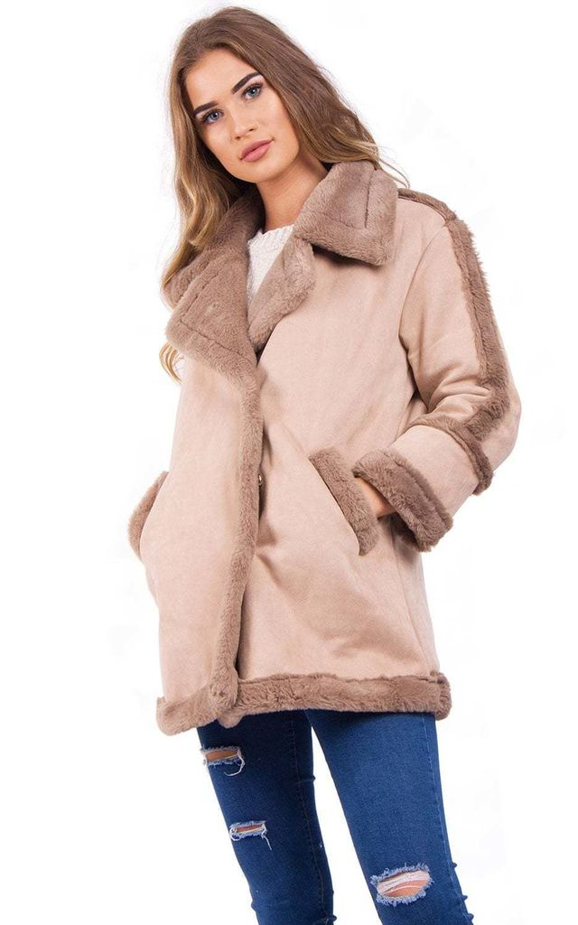 Light Mocha Faux Fur Suede Shearling Aviator Jacket Coat by Urban Mist