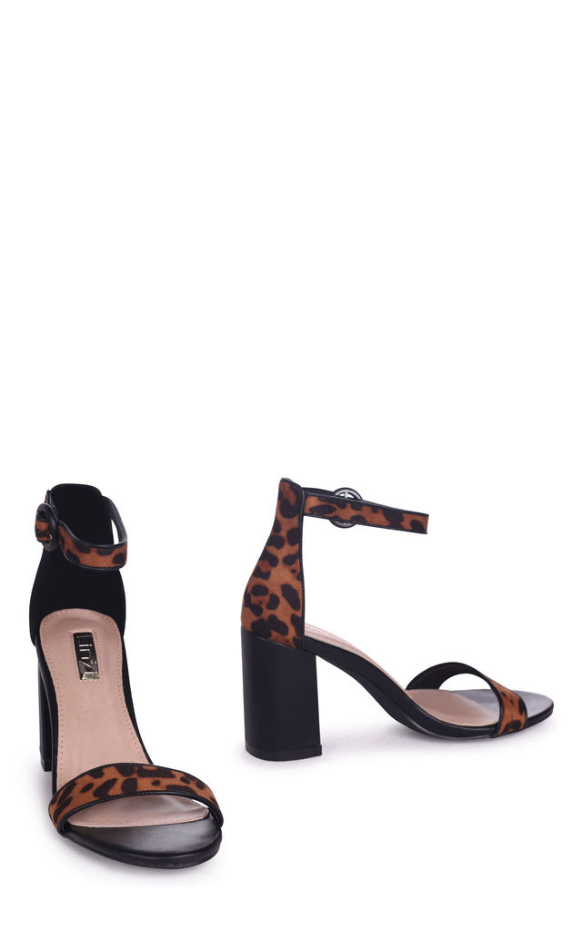 Sesame Leopard Suede Barely There Block Heeled Sandal by Linzi