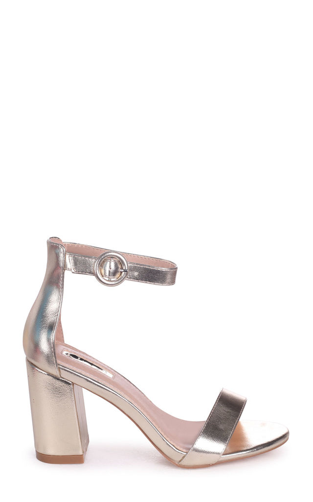 Sesame Gold Metallic Barely There Block Heeled Sandal by Linzi
