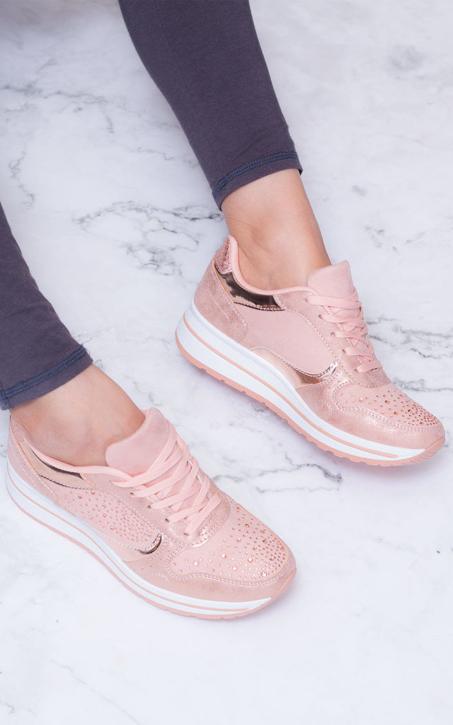 CASSOWARY Wedge Lace Up Flat Trainers Shoes - Pink Leather Style by SpyLoveBuy