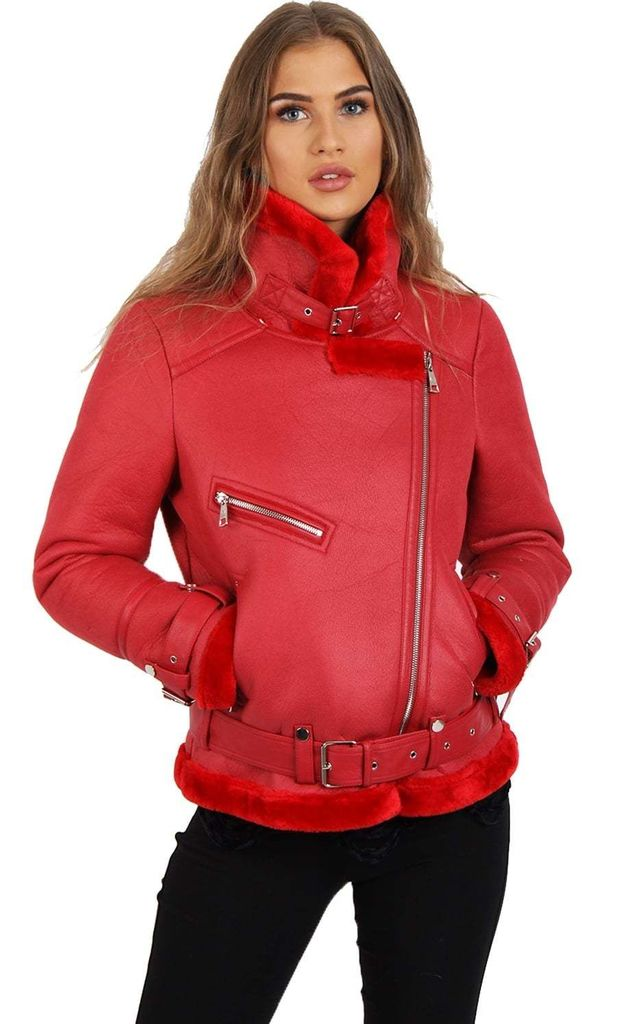 Red Aviator Fleece Lined Belt Detail Coat (Variant) by Urban Mist