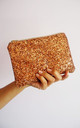 Glitter Mini Clutch Bag in Bronze by Suki Sabur Designs