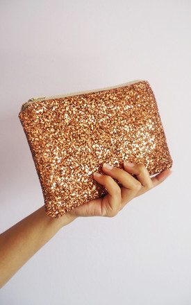 Glitter Makeup Bag in Bronze by Suki Sabur Designs