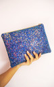 Glitter Clutch Bag in Royal Blue by Suki Sabur Designs