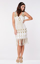 Molly Vintage Inspired Flapper Dress in White Gold by Gatsbylady London