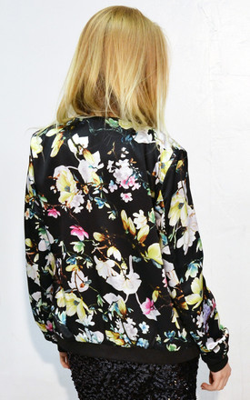 Multi Floral Print Silky Feeling black bomber Jacket by CY Boutique