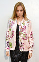 Silky Bomber Jacket in Pink Multi Floral Print by CY Boutique