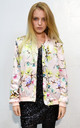 Silky Bomber Jacket in Light Pink Multi Floral Print by CY Boutique
