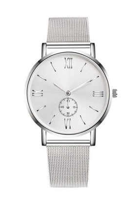 Silver Metal Watch with Mesh Strap by Ajouter Store