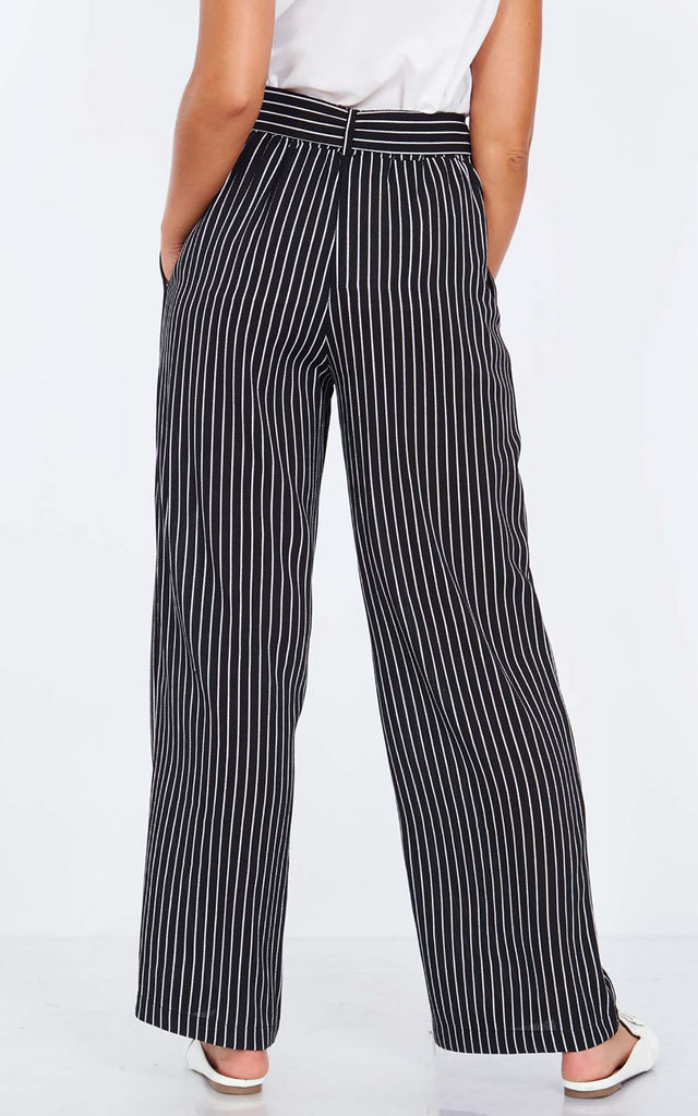PETUNIA – Paperbag Waist Black Palazzo Trousers by Blue Vanilla