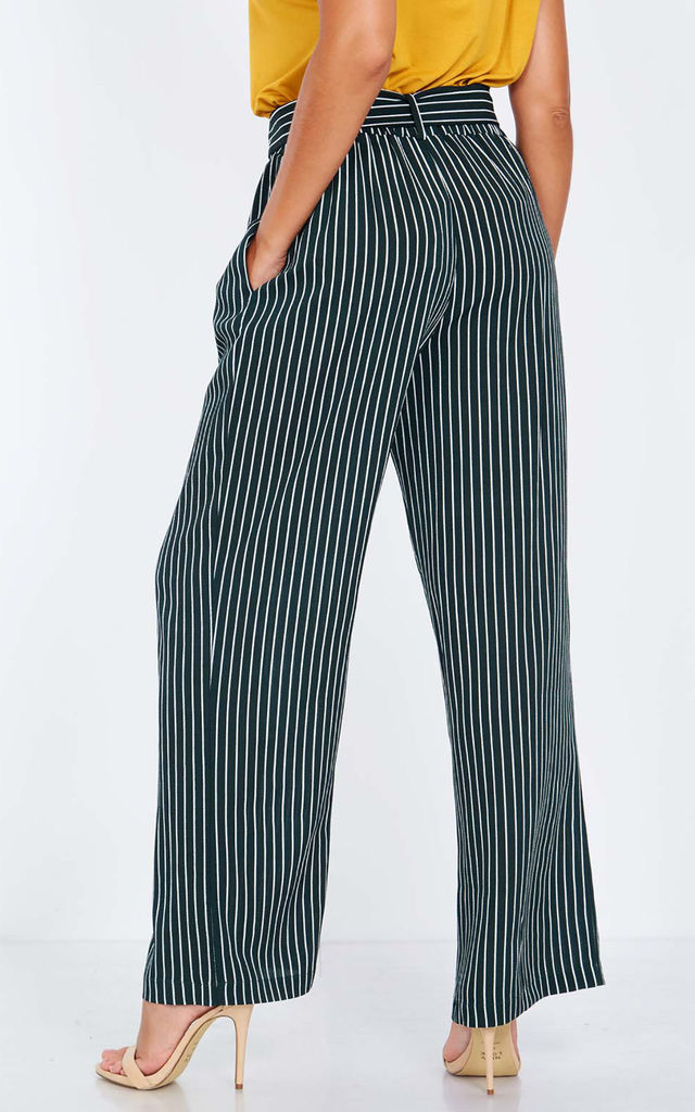 PETUNIA – Paperbag Waist Green Palazzo Trousers by Blue Vanilla