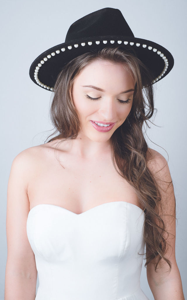 Black pearl fedora felt hat by Kate Coleman