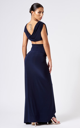 Navy Slinky Ruched Maxi Skirt by Club L London