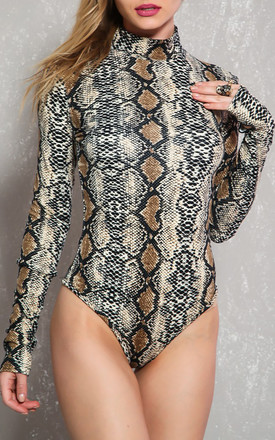 Brown Snake Skin Print Bodysuit by Cutie London