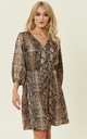 Brown Snake Skin Button Front Mini Dress by ROCK KANDY