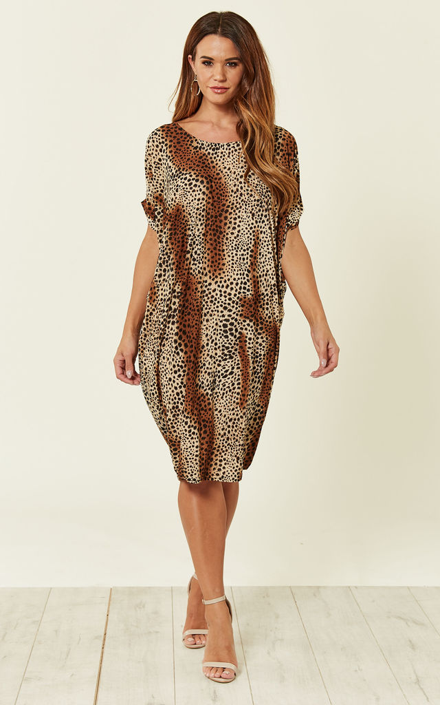 3a9fb4bc0c6 Brown Animal Print Tunic Midi Dress by DIVINE GRACE