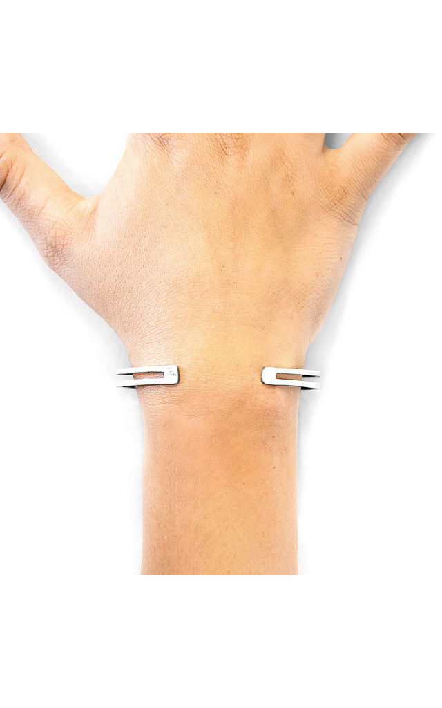 BRADY OUTLINE MIDI GEOMETRIC SILVER BANGLE by ANCHOR & CREW