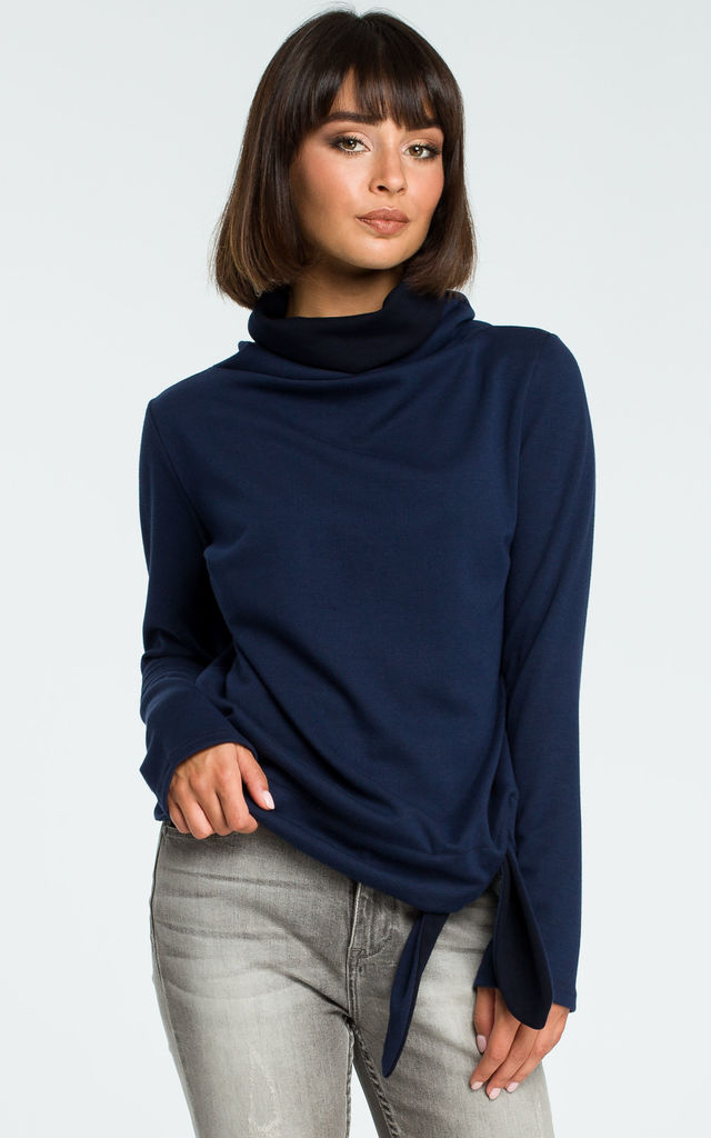 Navy Blue Turtleneck Tie Sweater by MOE
