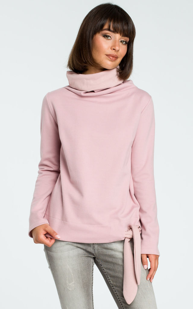 Powder Turtleneck Tie Sweater by MOE