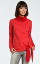 Red Turtleneck Tie Sweater by MOE