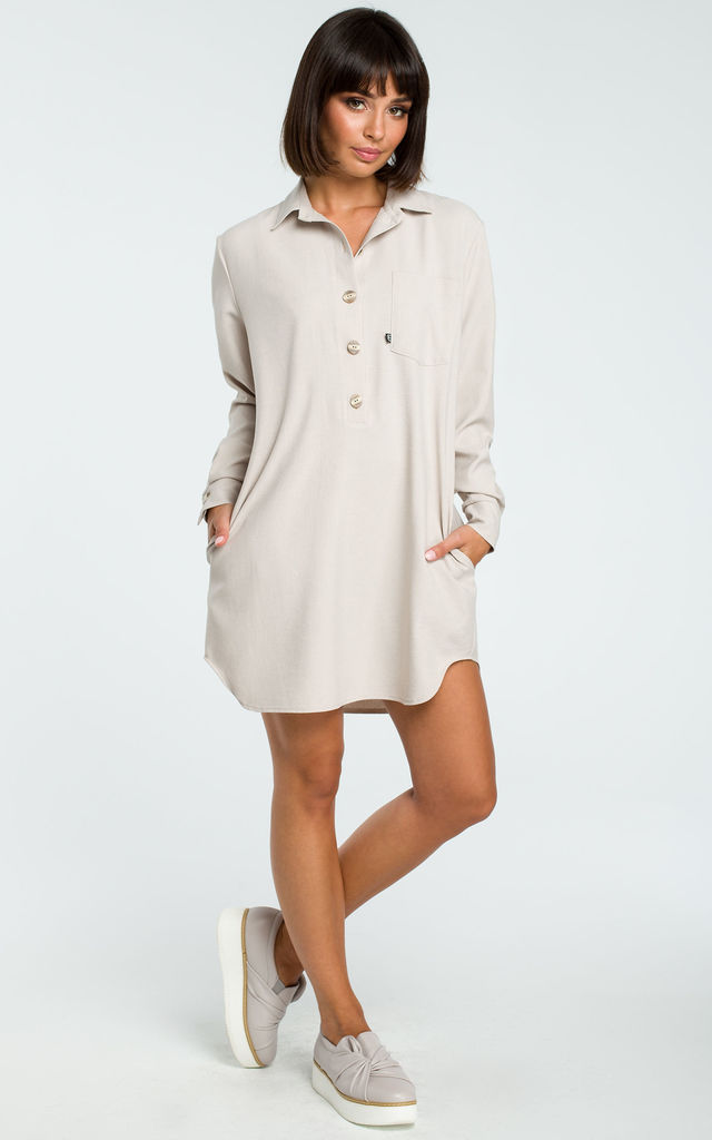 Beige Loose Shirt Tunic With Buttons by MOE
