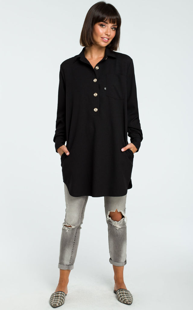 Black Loose Shirt Tunic With Buttons by MOE