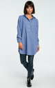 Blue Loose Shirt Tunic With Buttons by MOE