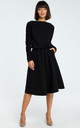 Black Long Sleeve Flared Midi Dress by MOE