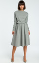 Grey Long Sleeve Flared Midi Dress by MOE