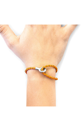 FIRE ORANGE BLAKE SILVER AND BRAIDED LEATHER BRACELET by ANCHOR & CREW