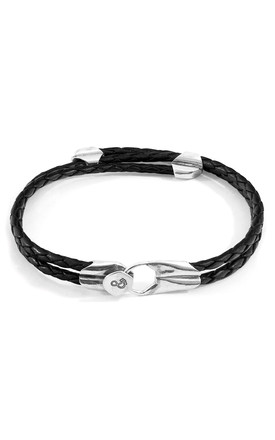 COAL BLACK CONWAY SILVER AND BRAIDED LEATHER BRACELET by ANCHOR & CREW