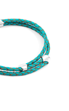 TURQUOISE BLUE CONWAY SILVER AND BRAIDED LEATHER BRACELET by ANCHOR & CREW