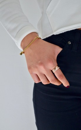 Gold Slim Screw Cuff Bracelet by Opes Robur