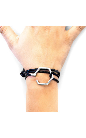COAL BLACK STOREY SILVER AND BRAIDED LEATHER BRACELET by ANCHOR & CREW