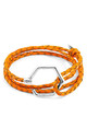 FIRE ORANGE STOREY SILVER AND BRAIDED LEATHER BRACELET by ANCHOR & CREW