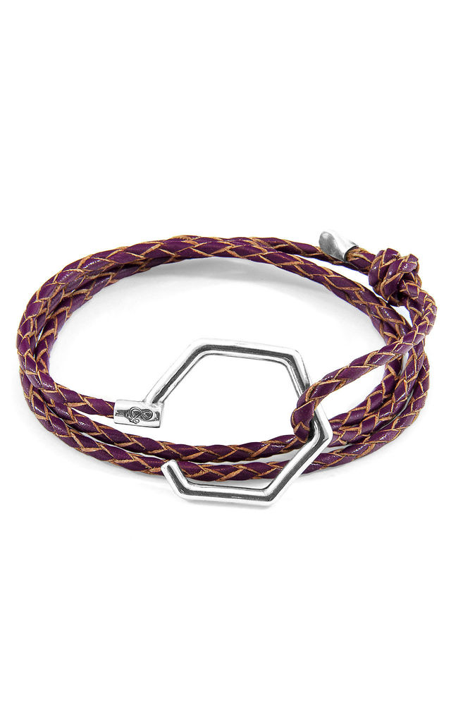 DEEP PURPLE STOREY SILVER AND BRAIDED LEATHER BRACELET by ANCHOR & CREW