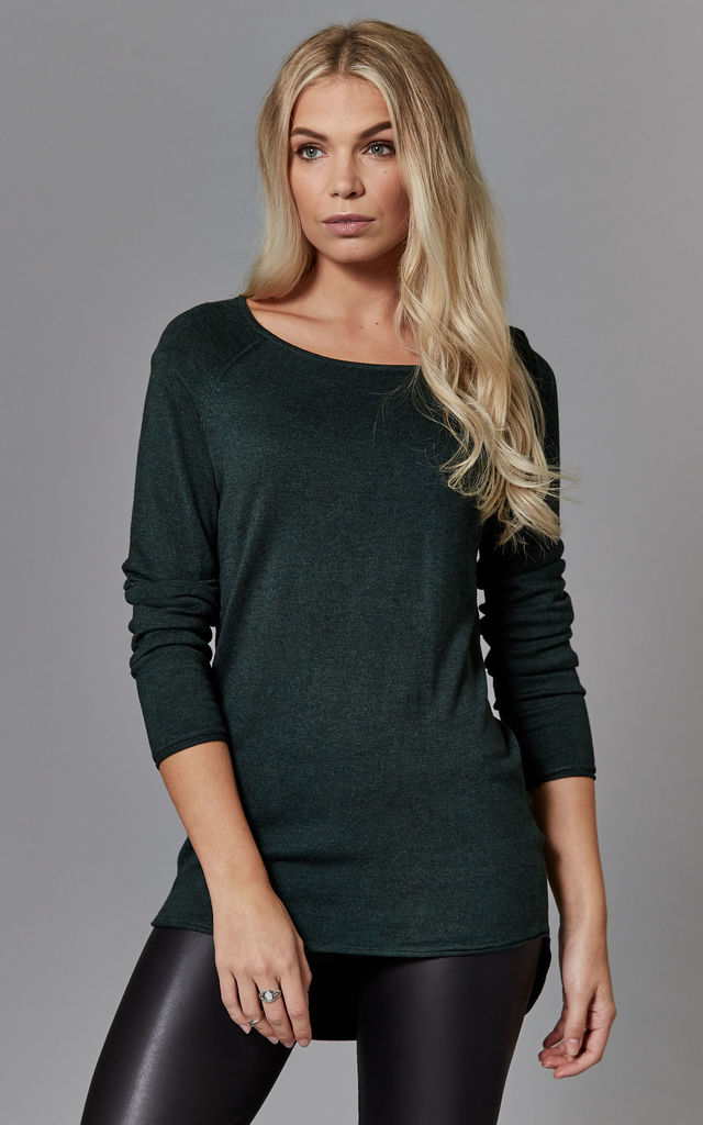 Green Melange Long Sleeve Round Neck Pullover Knit by ONLY